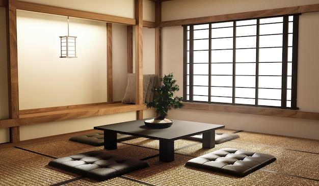 Mock up, diseñado específicamente en estilo japonés, sala de estar. representación 3d