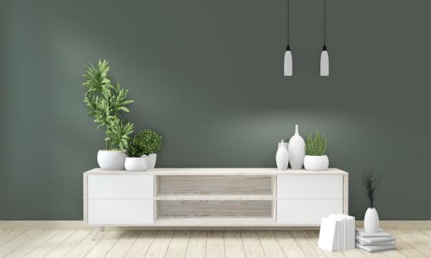 Mock up gabinete de póster de madera en sala verde viviendo diseño japonés