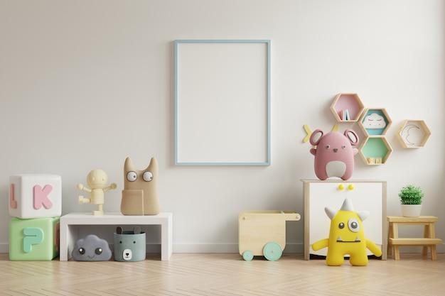 Mock up marco de póster en la habitación de los niños, sala de niños, maqueta de guardería, pared blanca.