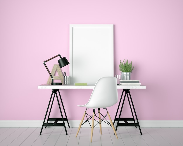 Mock up poster frame home office interior de fondo