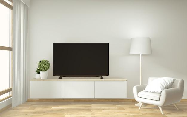 Mock up tv gabinete y pantalla con diseño minimalista y decoración de estilo japonés.