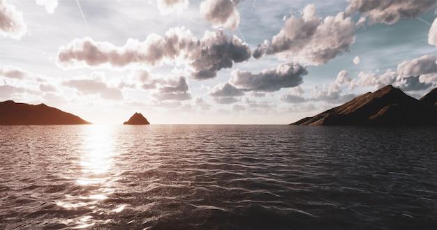 Mock up vista al mar, montañas en la puesta de sol