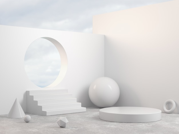 Mockup podio moderno escena blanca con geometría primitiva objeto de forma fondo abstracto render 3d