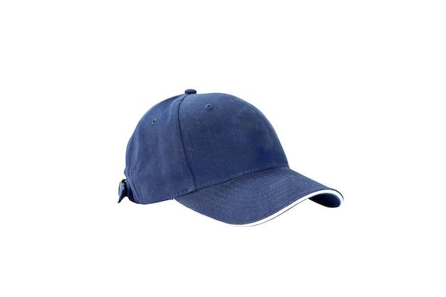 Moda azul y gorra de béisbol aislada en blanco