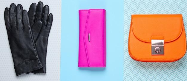 Moda minimalista. accesorios de moda para mujer sobre un fondo pastel. cartera de cuero, bolso, guantes. vista superior