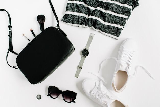 Moda de moda colección de ropa y accesorios de mujer de estilo negro en blanco
