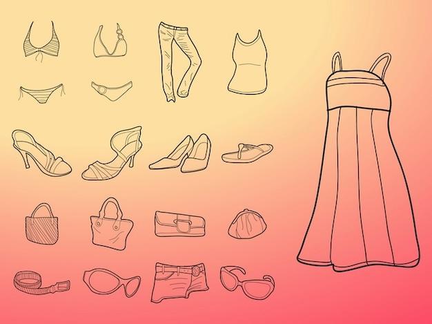 Moda para mujer de vestir dibujos vectoriales