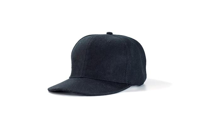 Moda negra y gorra de béisbol aislada en blanco