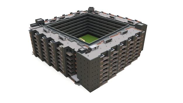 Modelo 3d de condominio. edificio de apartamentos con patio. representación 3d.