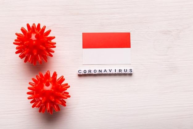 Modelo abstracto de la cepa del virus del coronavirus del síndrome respiratorio de oriente medio 2019-ncov o coronavirus covid-19 con texto y bandera indonesia en blanco