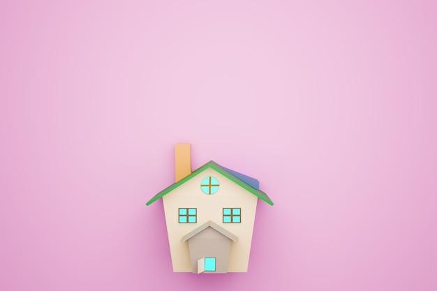 Modelo de casa sobre fondo rosa, renderizado de ilustraciones 3d
