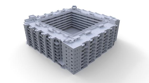 Modelo en condominio en color blanco con cristales transparentes. edificio de apartamentos con patio. representación 3d.