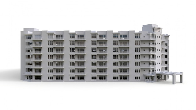 Modelo de condominio en color blanco con vidrios transparentes. edificio de apartamentos con patio. representación 3d