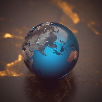Modelo de esfera terrestre sobre la mesa.