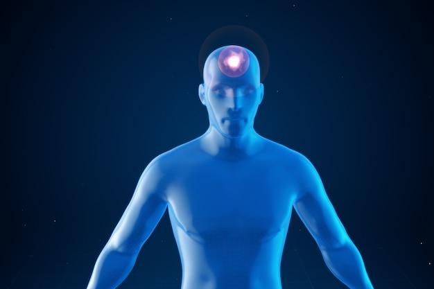 Modelo de un hombre con impulsos de dolor de cabeza.