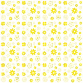 Modelo inconsútil de la flor amarilla en el fondo blanco