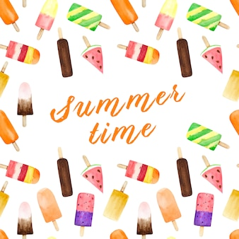 Modelo inconsútil con helado de la acuarela en el fondo blanco con el texto del verano.