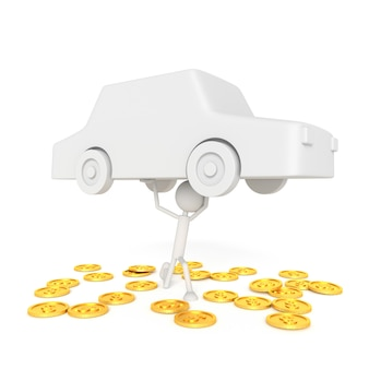 Modelo de personas elevar el coche con concepto deudor. representación 3d