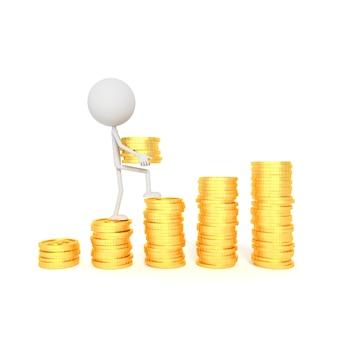 Modelo de personas y pila de monedas de dólar con concepto de ahorro. representación 3d