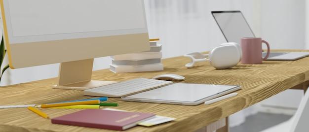 Moderna biblioteca del campus, espacio de trabajo, computadora, tableta y computadora portátil, maqueta en la mesa de madera, representación 3d