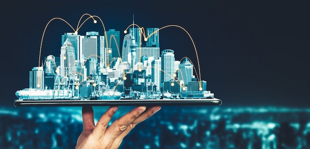 La moderna comunicación creativa y la red de internet se conectan en smart city