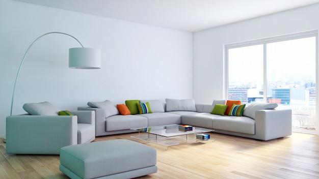 Moderna sala de estar 3d render