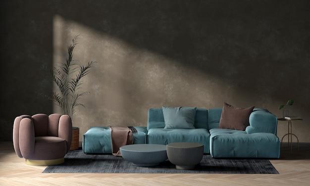 Moderna sala de estar acogedora y muro de hormigón textura de fondo diseño de interiores 3d rendering