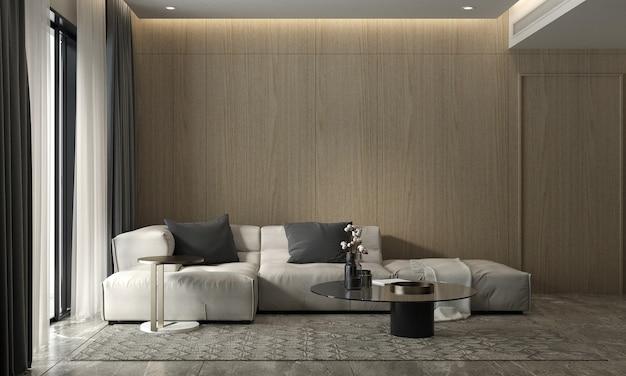 Moderna sala de estar acogedora y pared de madera textura de fondo diseño de interiores representación 3d