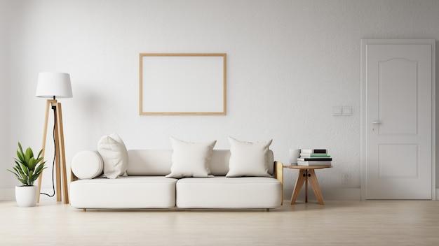 Moderna sala de estar con un cartel vacío en la pared.