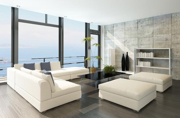 Moderna sala de estar con grandes ventanales y paredes de concreto.