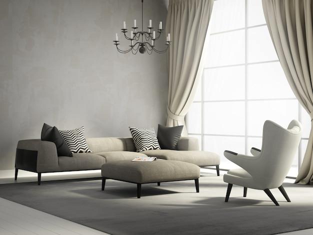 Moderna sala de estar con grandes ventanales.