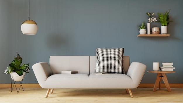 Moderna sala de estar interior con sofá y plantas verdes, lámpara, mesa de estar. render 3d