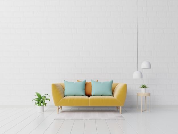Moderna sala de estar interior con sofá y plantas verdes, lámpara, mesa en pared blanca