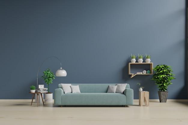Moderna sala de estar interior con sofá y plantas verdes.