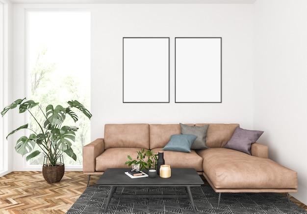 Moderna sala de estar con marcos dobles, exhibición de arte.
