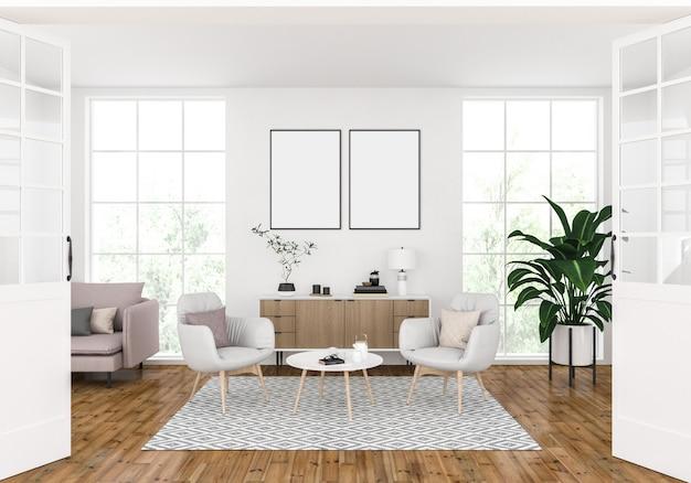 Moderna sala de estar con marcos dobles vacíos, exhibición de arte