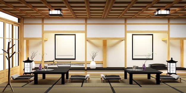 Moderna sala de estar con mesa baja negra, lámpara, jarrón y decoración estilo japanses.