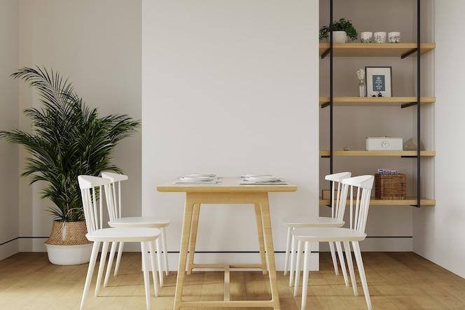 Moderna sala de estar con mesa frente a la pared blanca.