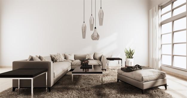 Moderna sala de estar con pared blanca sobre suelo de madera y sofá