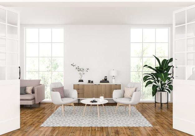 Moderna sala de estar con pared en blanco, exhibición de arte