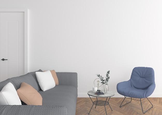 Moderna sala de estar con pared en blanco