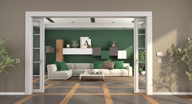 Moderna sala de estar con puerta corredera y elegante sofá.
