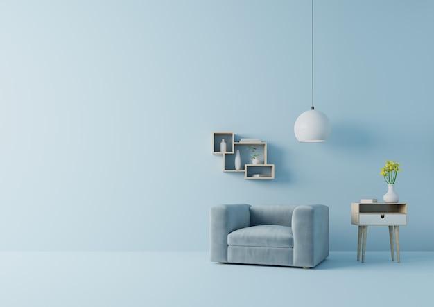 La moderna sala de estar con sillón azul tiene gabinete y lámpara en el piso de madera y la pared azul, representación 3d