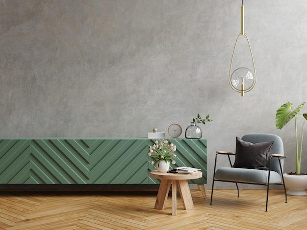 Moderna sala de estar con sillón y planta en muro de hormigón, renderizado 3d