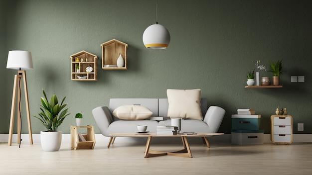 La moderna sala de estar con sofá blanco tiene gabinetes y estantes de madera en pisos de madera y paredes blancas