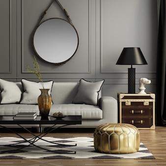 Moderna sala de estar con sofá y decoración.