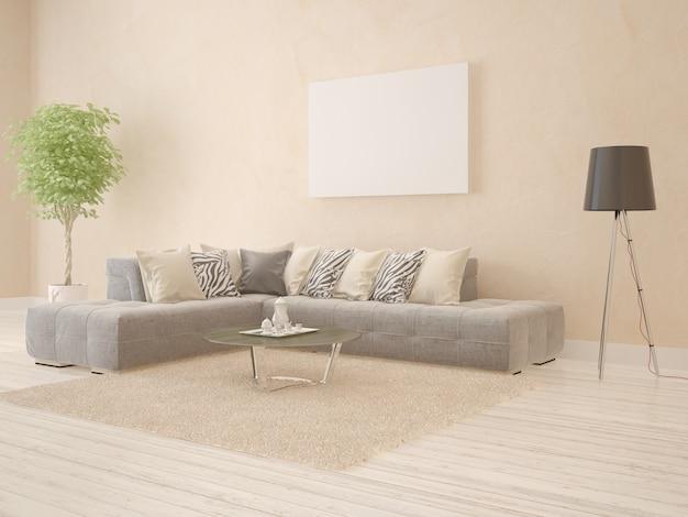 Moderna sala de estar con sofá de esquina y marco vacío.