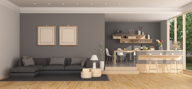 Moderna sala de estar con sofá y mesa de comedor.