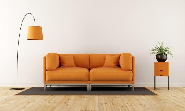 Moderna sala de estar con sofá naranja.