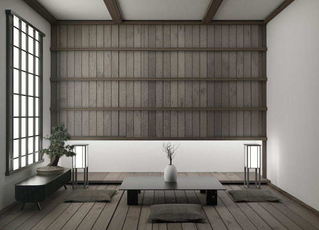 Moderna sala de estar vacía con tatami en el piso y representación tradicional en 3d en 3d.